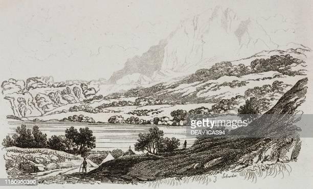 Mount Pilatus Swiss Prealps engraving from La Svizzera pittoresca e i suoi dintorni by Alexandre Martin Mendrisio 1838