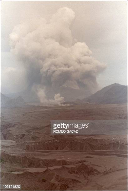 Mount Pinatubo errupts 01 August 1991 in this aerial shot taken from a Philippine air force helicopter approximately 8 kms from the volcano Experts...