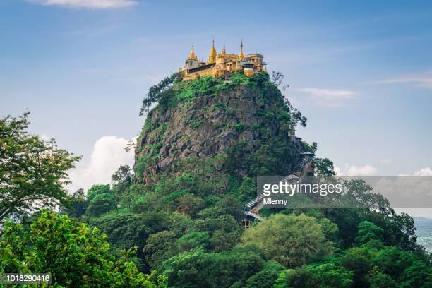 mount popa taung kalat monastery myanmar - myanmar stock pictures, royalty-free photos & images