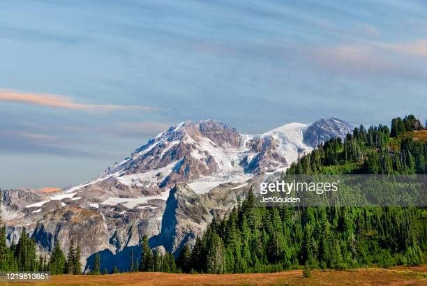 mount rainier from the wonderland trail - jeff goulden stock pictures, royalty-free photos & images