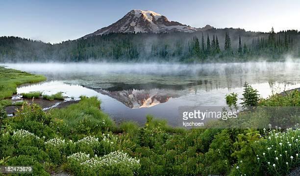 Mount Rainier Misty Sunrise Reflection Panorama