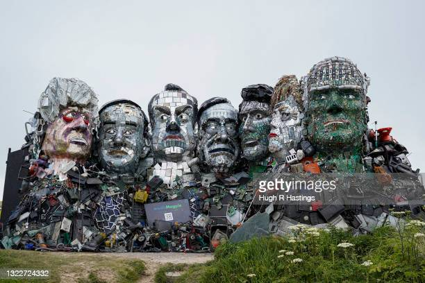 Mount Recyclemore, the giant sculpture of Boris Johnson, Joe Biden and fellow G7 leaders made from discarded electronics components in situ on a...