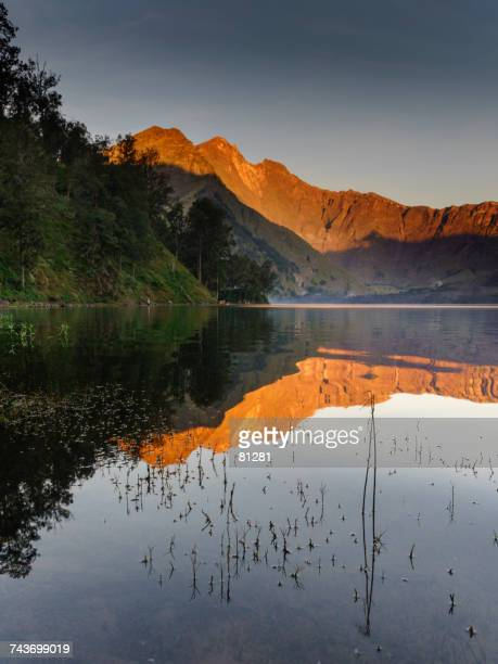 Mount Rinjani reflections in a lake, Sembalun, West Nusa Tenggara, Indonesia