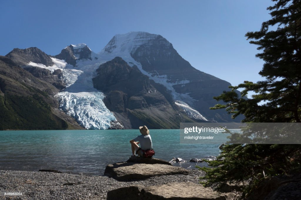 Mount Robson Provincial Park hiking visitor Berg Lake Glacier British Columbia Canada : Stock Photo