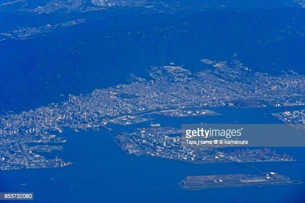 Mount Rokko and Kobe city in Hyogo prefecture daytime aerial view from airplane