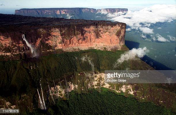 Mount Roraima one of the most famous of the Tapui mountains marks the border of Guyana Venezuela and Brazil makes an appearance as a shroud of clouds...