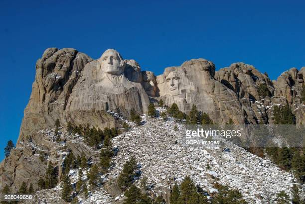 Mount Rushmore National Memorial covered with a fresh dusting of snow