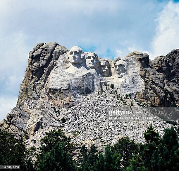 Mount Rushmore National Memorial with the sculptures of George Washington Thomas Jefferson Theodore Roosevelt and Abraham Lincoln by Gutzon Borglum...