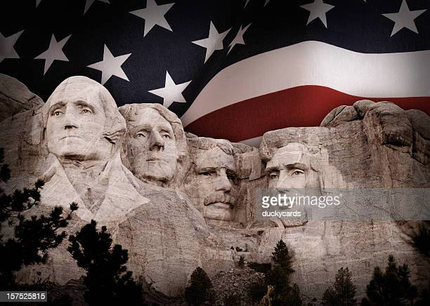 Mount Rushmore with American Flag Background
