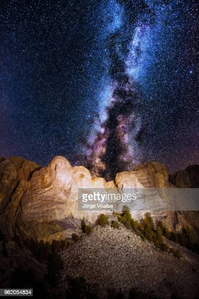 mount rushmore with milky way on the sky - south dakota stock photos and pictures