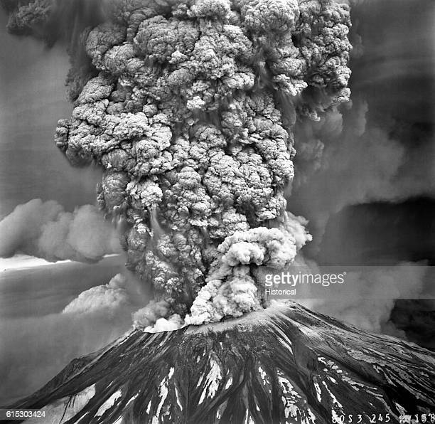 Mount Saint Helens in the southern Washington Cascades erupts violently on May 18, 1980. This view from the south shows the huge column of ash that...