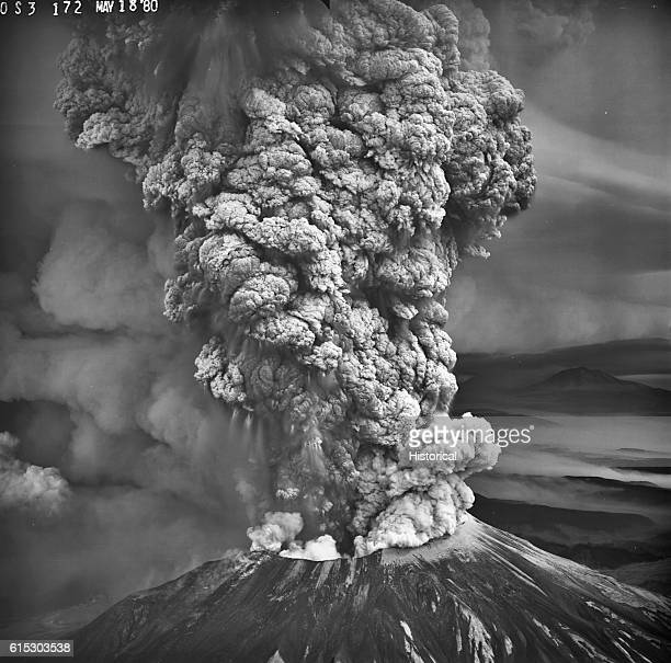Mount Saint Helens in the southern Washington Cascades erupts violently on May 18, 1980. This view from the southwest shows the rising column of...