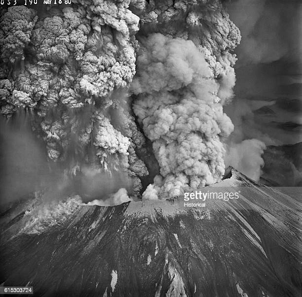 Mount Saint Helens in the southern Washington Cascades erupts violently on May 18, 1980. This view from the southwest shows the edges of the...