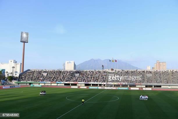 Mount Sakurajima is seen in the background prior to the J.League J3 match between Kagoshima United and Cerezo Osaka U-23 at Kamoike Stadium on May 6,...