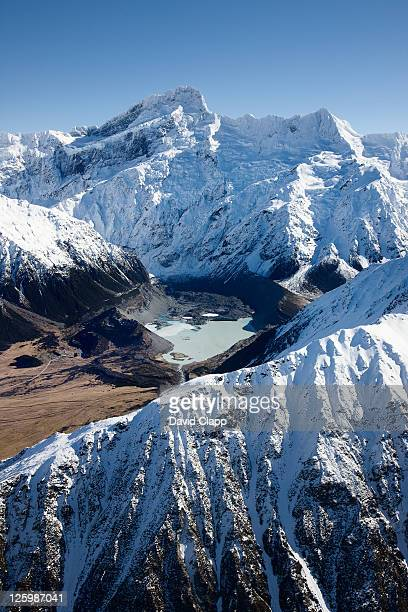 Mount Sefton and Hooker Glacier Lake in Mount Cook National Park, Southern Alps, South Island, New Zealand