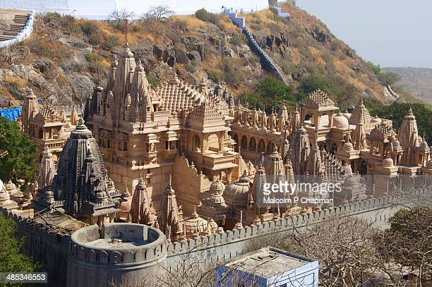 mount shatrunjaya, palitana, gujarat. jain temples - palitana stock photos and pictures