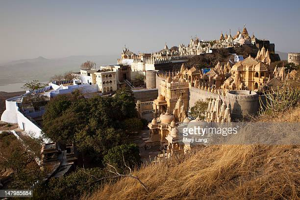 mount shatrunjaya - palitana stock photos and pictures