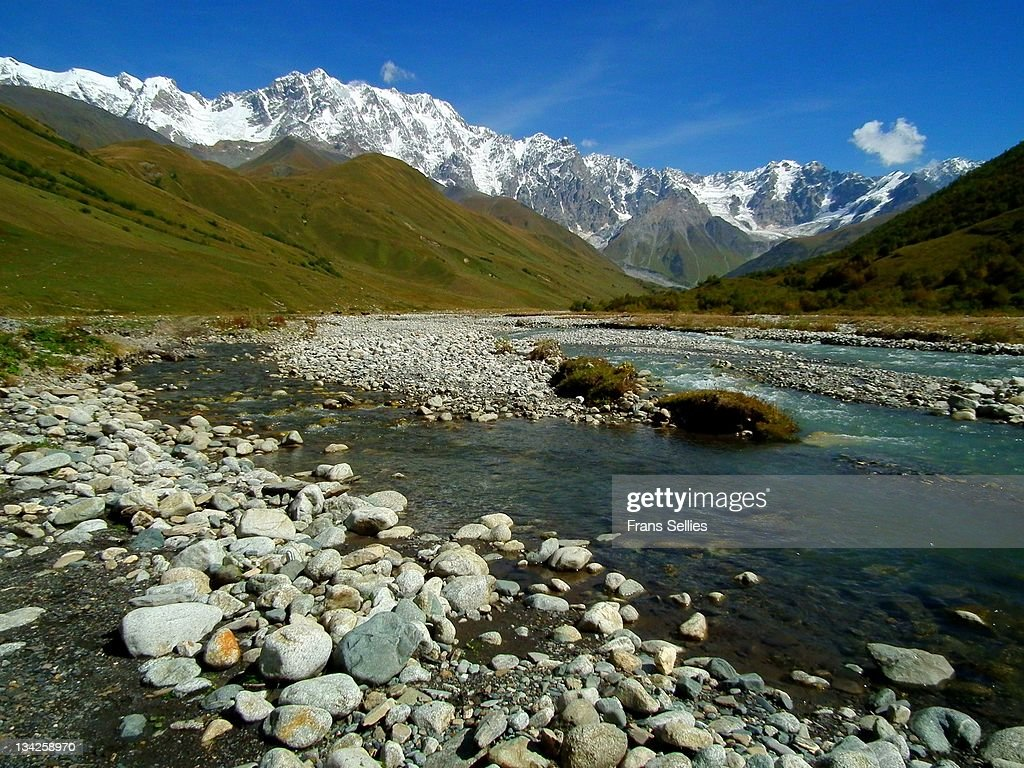Mount Shkhara near Ushguli (Svaneti, Georgia) : Stock Photo