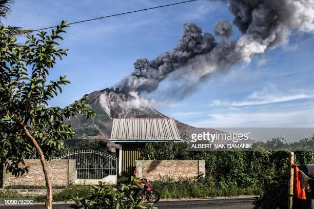Mount Sinabung volcano spews thick smoke in Karo North Sumatra on January 23 2018 Mount Sinabung roared back to life in 2010 for the first time in...