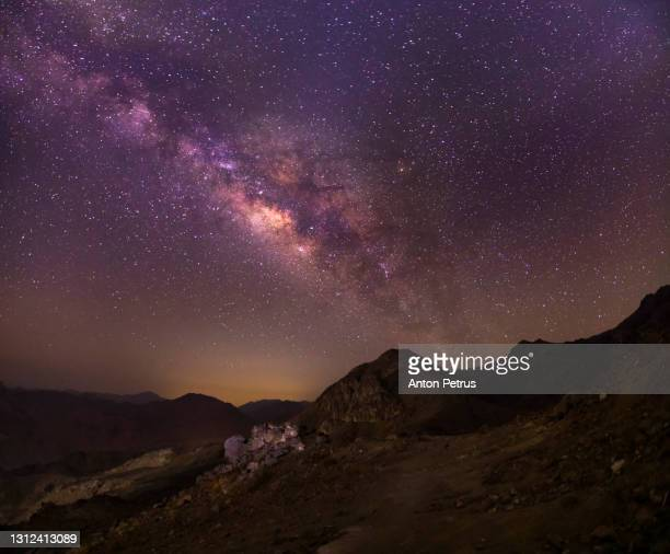 mount sinai at night under the starry sky with the milky way. sinai mountains, egypt - sinai egypt stock pictures, royalty-free photos & images