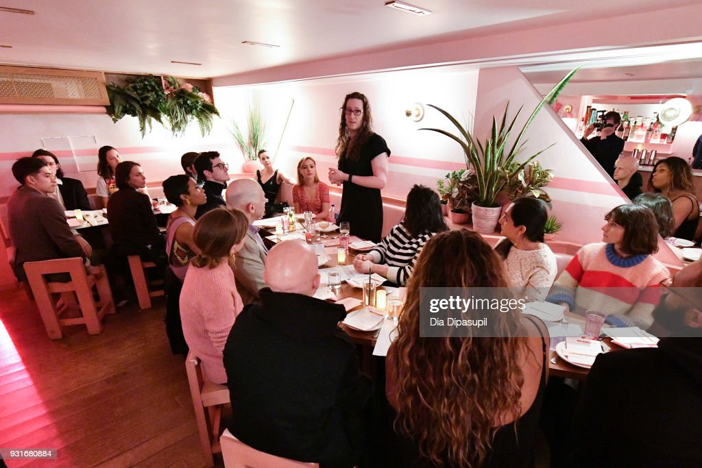 Mount Sinai Center for Transgender Medicine and Surgery program director Zil Goldstein (C) speaks during the Trans Awareness Dinner at Pietro Nolita on March 13, 2018 in New York City.