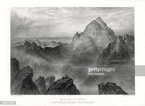 'Mount Sinai Jebel Musa as seen from Jebel Katharina' 1887 View of Mt Sinai in Egypt from Mt Catherine at the foot of which is the Monastery of St...