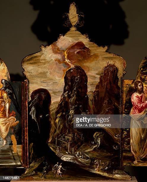 Mount Sinai portable triptych altar by El Greco Modena Galleria Estense Palazzo Dei Musei
