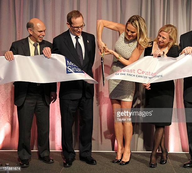 Mount Sinai President and CEO Kenneth L Davis philanthopist Glenn R Dubin and doctors Eva AnderssonDubin and Elisa Port are seen during a ribbon...