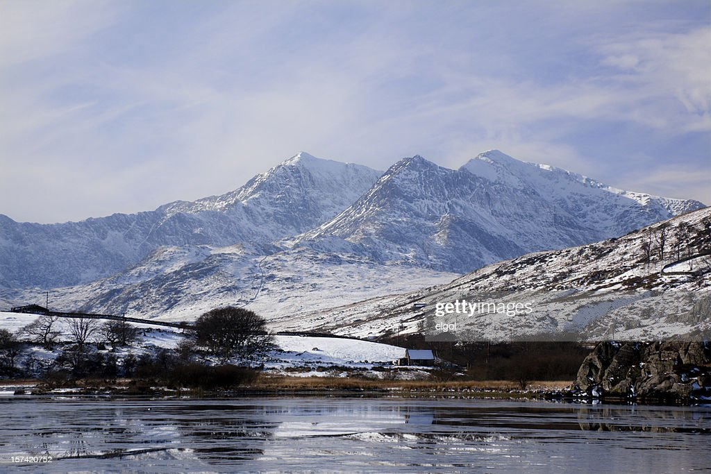Mount Snowdon in Winter from Capel Curig : Stock Photo