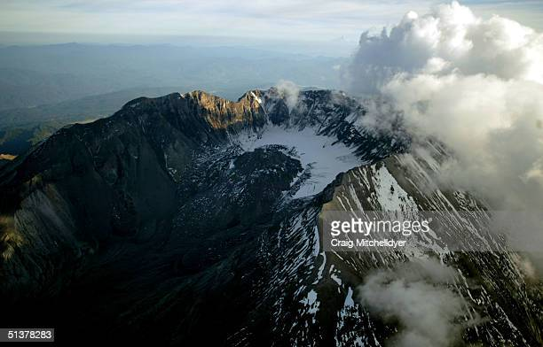 Mount St Helens is shown from the air on September 30 2004 in Mount St Helens Washington Earthquakes have steadily increased in frequency and...