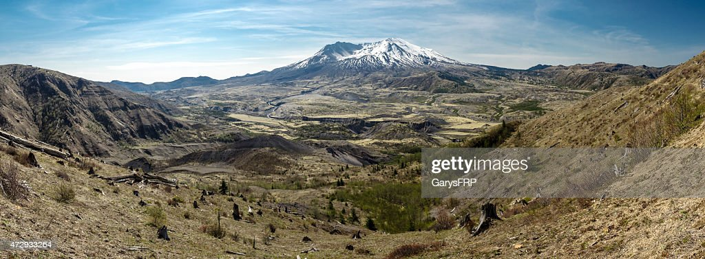 Mount St Helens Summit Panoramic 35 Years after Volcanic Eruption : Stock Photo