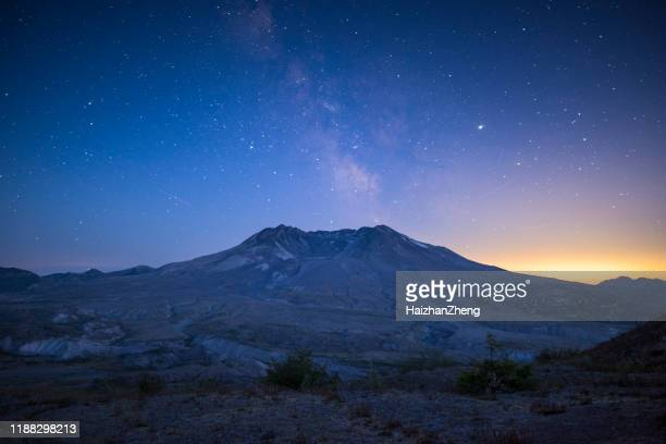 mount st. helens sunset sky stars milkway - mount st. helens stock pictures, royalty-free photos & images