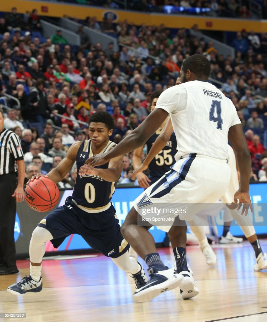 Mount St. Mary's Mountaineers guard Junior Robinson (0) drives to the basket during the NCAA Division I Men's Basketball Championship first round game between Mount St. Mary's Mountaineers and Villanova Wildcats on March 16, 2017 at the Key Bank Center in Buffalo, NY.