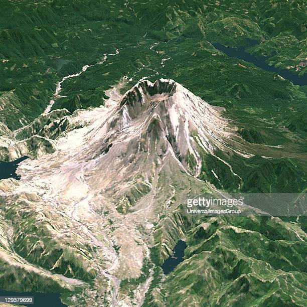 Mount St-Helens, USA, true colour satellite image. North-West view of Mount St-Helens in 3D, an active volcano in Washington State, US. Image using...