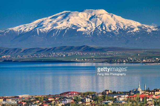 mount suphan, lake van, van, turkey - stratovolcano stock photos and pictures