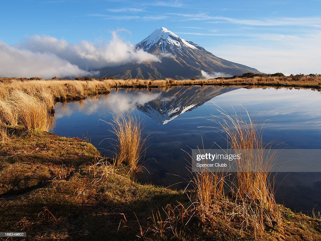 Mount Taranaki from the Pouakai Tarns : Stock Photo
