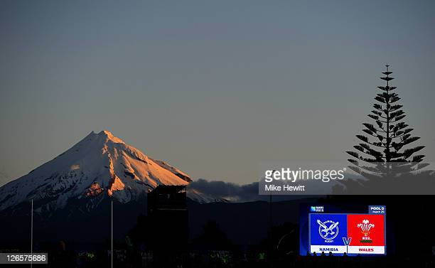 Mount Taranaki looks over the action during the IRB 2011 Rugby World Cup Pool D match between Wales and Namibia at Stadium Taranaki on September 26...