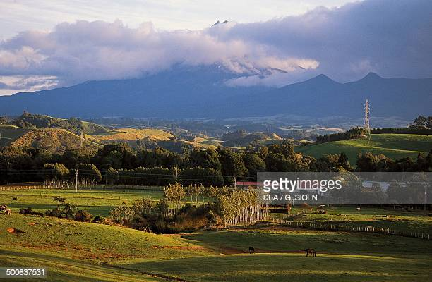 Mount Taranaki or Mount Egmont in the clouds North Island New Zealand