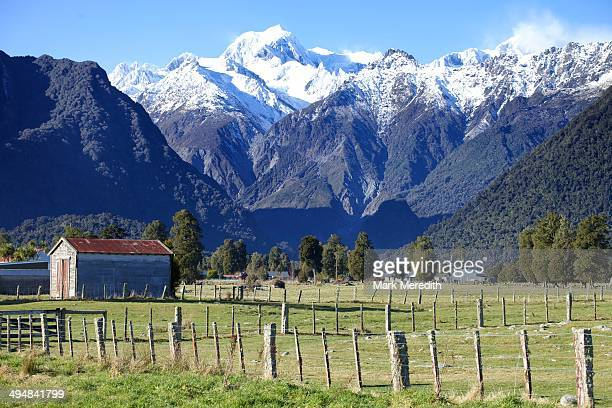 Mount Tasman in the Southern Alps viewed from Fox Glacier Village