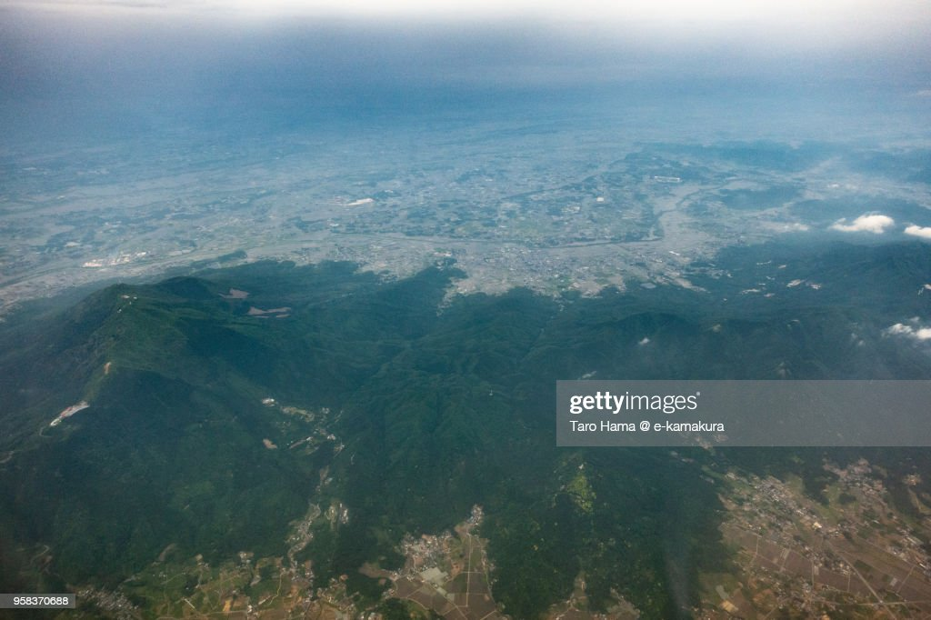 Mount Tsukuba in Ibaraki prefecture in Japan daytime aerial view from airplane : ストックフォト