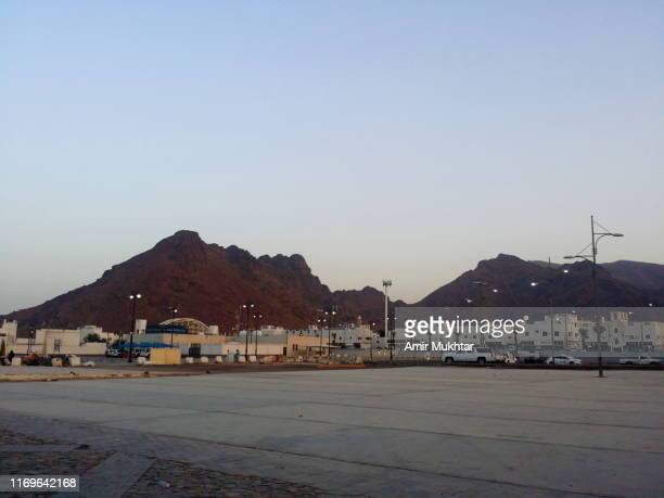 mount uhad from mosque and grave of hazrat amir hamza, parental uncle and companion of prophet muhammad - ziarat stock photos and pictures