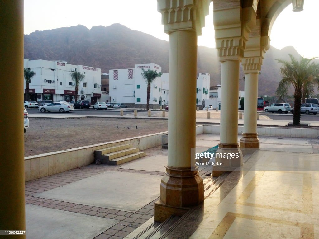 Mount Uhad from Mosque and Grave of Hazrat Amir Hamza, parental uncle and companion of Prophet Muhammad : Stock Photo