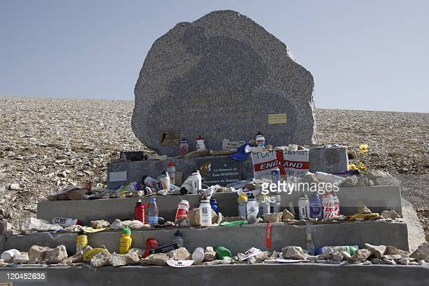 Mount Ventoux in France in 2007 Monument dedicated to the memory of the cyclist Tom Simpson who died during the Tour de France in the ascencion of...