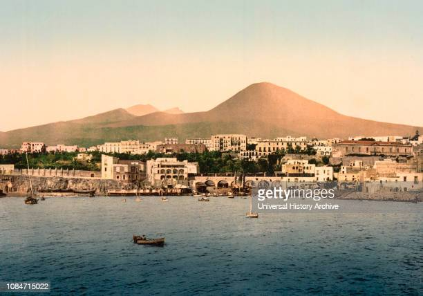 Mount Vesuvius with Torre del Greco Naples Italy Photochrome Print Detroit Publishing Company 1900
