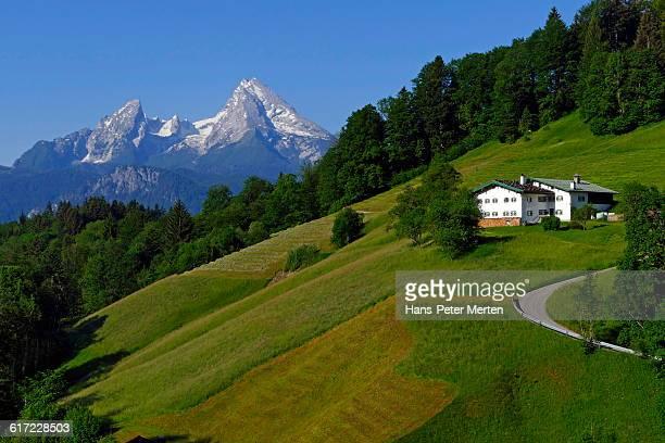 mount watzmann near berchtesgaden, bavaria - watzmann massif stock photos and pictures