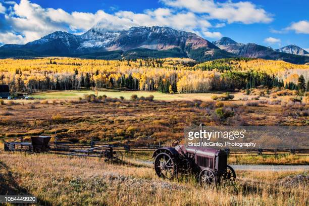mount wilson antique tractor - mt wilson colorado stock photos and pictures