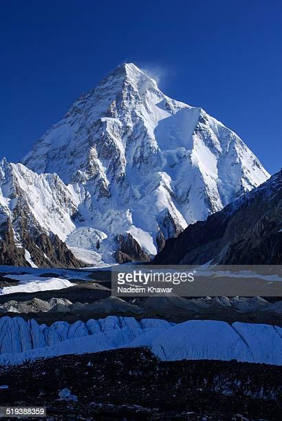 k2 mountain, 9611m. - k2 mountain stock pictures, royalty-free photos & images