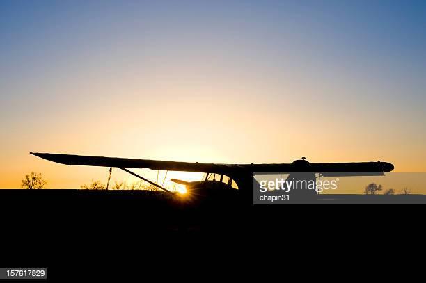Mountain Airplane At Sunset
