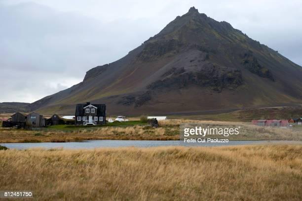 Mountain and farm at Arnarstapi,  Snæfellsnes peninsula, Western Iceland