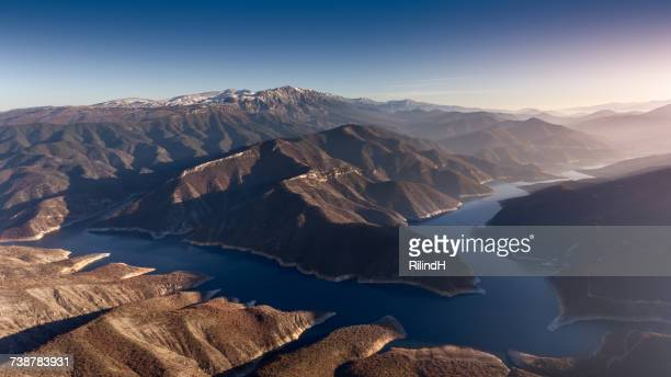 mountain and lake landscape, skopje, macedonia - skopje stock pictures, royalty-free photos & images
